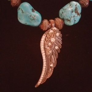 Silver Wing Turquoise Bead Necklace